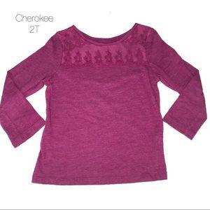 Cherokee Purple Long Sleeve Shirt Lace Detail 2T